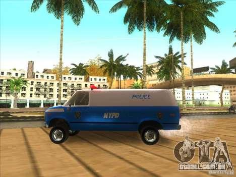 Chevrolet Van G20 BLUE NYPD 1990 para GTA San Andreas esquerda vista
