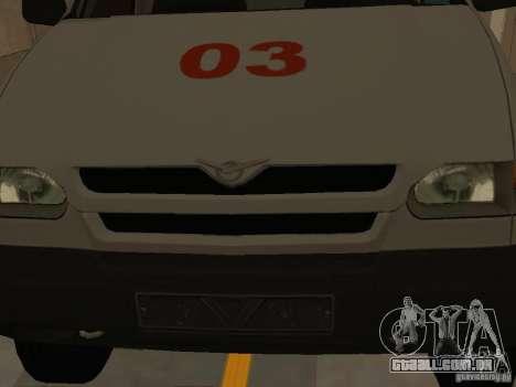 UAZ Simba SC ambulância para GTA San Andreas vista interior