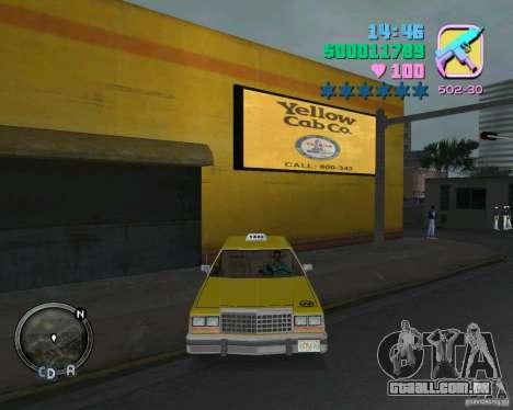 Ford Crown Victoria LTD 1985 Taxi para GTA Vice City vista interior