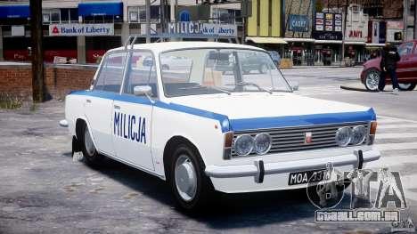 Fiat 125p Polski Milicja para GTA 4 vista de volta