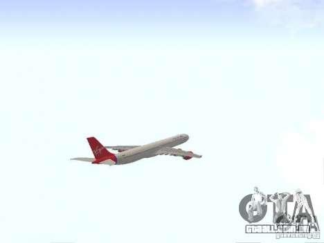 Airbus A340-600 Virgin Atlantic para GTA San Andreas vista interior
