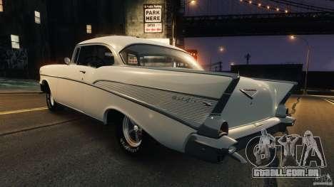 Chevrolet Bel Air Hardtop 1957 Light Tun para GTA 4 traseira esquerda vista