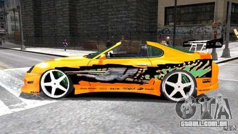 Toyota Supra Fast And Furious para GTA 4 esquerda vista
