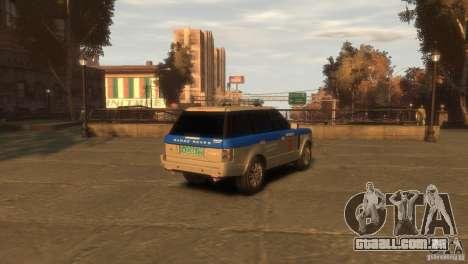 Land Rover Range Rover Police para GTA 4 traseira esquerda vista