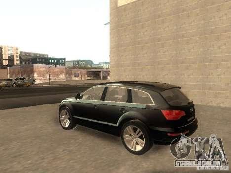 Audi Q7 TDI Stock para GTA San Andreas traseira esquerda vista