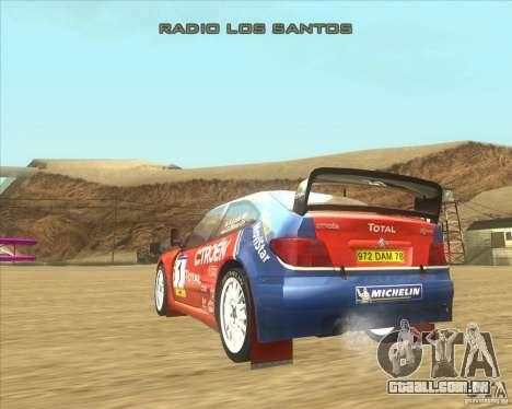 Citroen Xsara WRC para GTA San Andreas traseira esquerda vista