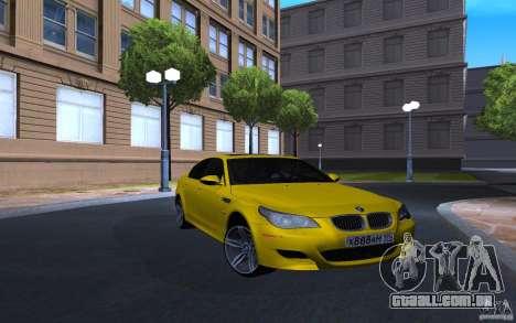 BMW M5 Gold Edition para GTA San Andreas traseira esquerda vista
