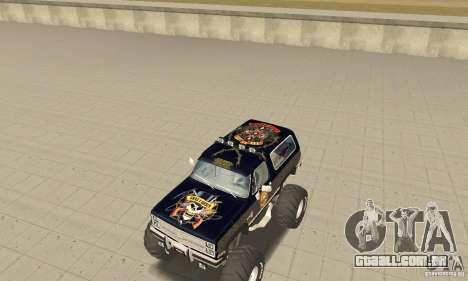 Chevrolet Blazer K5 Monster Skin 2 para GTA San Andreas esquerda vista