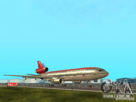 McDonell Douglas DC 10 Nortwest Airlines para GTA San Andreas traseira esquerda vista
