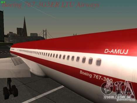 Boeing 767-3G5ER LTU Airways para GTA San Andreas vista traseira