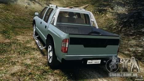 Chevrolet S-10 Colinas Cabine Dupla para GTA 4 traseira esquerda vista