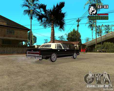 Lincoln Town Car 1986 para GTA San Andreas vista direita