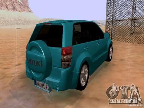 Suzuki Grand Vitara para GTA San Andreas traseira esquerda vista