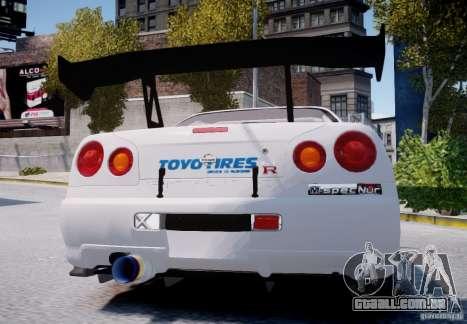 Nissan Skyline GT-R R34 2F2F para GTA 4 vista direita
