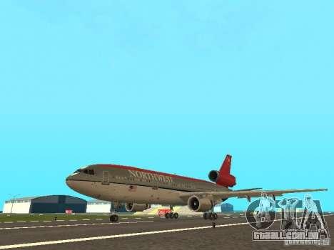 McDonell Douglas DC 10 Nortwest Airlines para GTA San Andreas