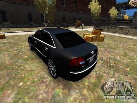 Audi A8L W12 para GTA 4 traseira esquerda vista