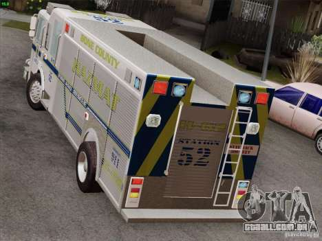 Pierce Fire Rescues. Bone County Hazmat para GTA San Andreas interior