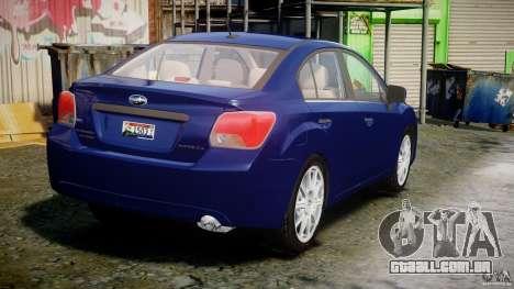 Subaru Impreza Sedan 2012 para GTA 4 vista lateral