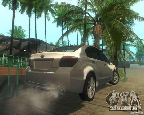 Subaru Impreza Sedan 2012 para GTA San Andreas vista direita