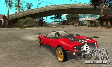 Pagani Zonda Tricolore V1 para GTA San Andreas traseira esquerda vista