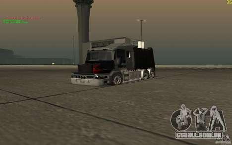 Caminhão de lixo Scania T164 para GTA San Andreas vista direita