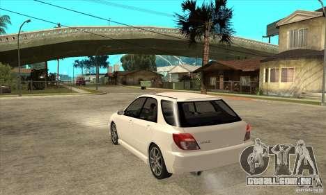 Subaru Impreza WRX Wagon 2002 para GTA San Andreas traseira esquerda vista