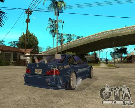 BMW M3 GTR de Need for Speed Most Wanted para GTA San Andreas traseira esquerda vista