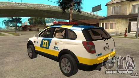 Chevrolet Captiva Police para GTA San Andreas traseira esquerda vista