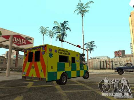London Ambulance para GTA San Andreas traseira esquerda vista