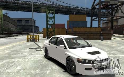 Mitsubishi Lancer Evolution IX 2010 para GTA 4 vista de volta