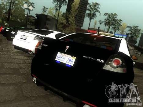 Pontiac G8 Police para GTA San Andreas vista direita