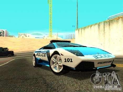Lamborghini Murcielago LP640 Police V1.0 para GTA San Andreas traseira esquerda vista