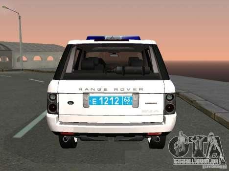 Range Rover Supercharged 2008 polícia departamen para GTA San Andreas traseira esquerda vista