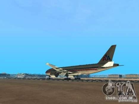 Boeing 777-200 American Airlines para GTA San Andreas traseira esquerda vista