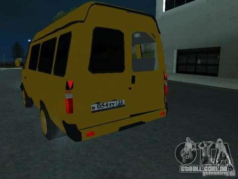 Táxi de gazela para GTA San Andreas vista interior
