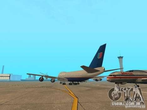 Boeing 747-100 United Airlines para GTA San Andreas traseira esquerda vista