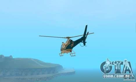 AS350 Ecureuil para GTA San Andreas traseira esquerda vista