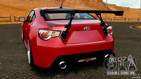 Subaru BRZ 2013 para GTA 4 traseira esquerda vista