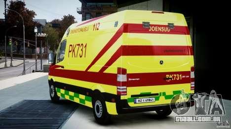 Mercedes-Benz Sprinter PK731 Ambulance [ELS] para GTA 4 traseira esquerda vista