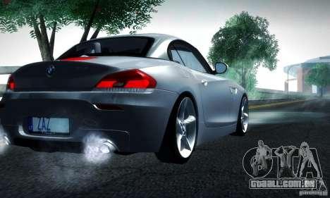 BMW Z4 Stock 2010 para GTA San Andreas traseira esquerda vista