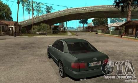 Audi A8 Long 6.0 2000 para GTA San Andreas traseira esquerda vista