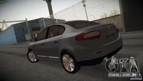 Renault Fluence para GTA San Andreas traseira esquerda vista
