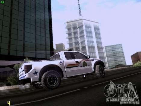 Ford Raptor Royal Canadian Mountain Police para GTA San Andreas vista traseira