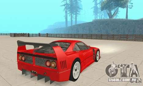 Ferrari F40 Competizione para GTA San Andreas esquerda vista