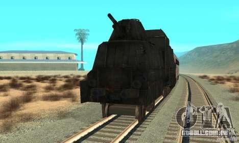 Trem blindado alemão do mundo segundo para GTA San Andreas traseira esquerda vista