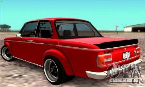 BMW 2002 Turbo para GTA San Andreas vista direita