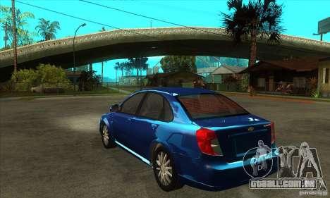 Chevrolet Optra 2011 para GTA San Andreas traseira esquerda vista
