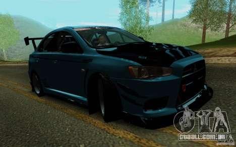 Mitsubishi Lancer Evolution X Tunable para vista lateral GTA San Andreas