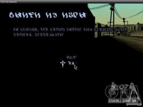 A fonte do NFS MW V2 para GTA San Andreas nono tela