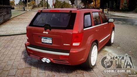 Jeep Grand Cherokee para GTA 4 traseira esquerda vista